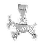 Sterling Silver 3D Goat Pendant (Rhodium, Yellow or Rose Gold-plated)