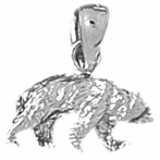 Sterling Silver 3D Grizzley Bear Pendant (Rhodium, Yellow or Rose Gold-plated)