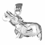 Sterling Silver 3D Hippopotamus Pendant (Rhodium, Yellow or Rose Gold-plated)