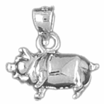 Sterling Silver 3D Hog Pendant (Rhodium, Yellow or Rose Gold-plated)