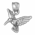 Sterling Silver 3D Humming Bird Pendant (Rhodium, Yellow or Rose Gold-plated)