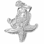 Sterling Silver 3D Mermaid And Starfish Pendant (Rhodium, Yellow or Rose Gold-plated)