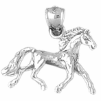 Sterling Silver 3D Mustang Pendant (Rhodium, Yellow or Rose Gold-plated)
