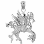 Sterling Silver 3D Pegasus Pendant (Rhodium, Yellow or Rose Gold-plated)