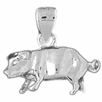 Sterling Silver 3D Pig Pendant (Rhodium, Yellow or Rose Gold-plated)