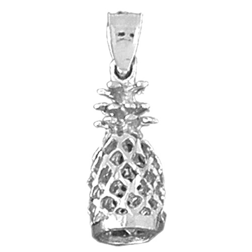 Jewels Obsession 14K White Gold Pineapple Pendant 16 mm