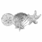 Sterling Silver 3D Sand Dollar, Shell With Mermaid, And Starfish Pendant (Rhodium, Yellow or Rose Gold-plated)