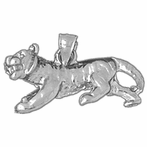 Sterling Silver 3D Tiger Pendant (Rhodium, Yellow or Rose Gold-plated)
