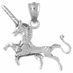 Sterling Silver 3D Unicorn Pendant (Rhodium, Yellow or Rose Gold-plated)
