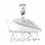 Sterling Silver Alaska Cruise Ship Pendant (Rhodium, Yellow or Rose Gold-plated)