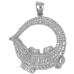 Sterling Silver Aligator Pendant (Rhodium, Yellow or Rose Gold-plated)
