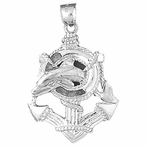 Sterling Silver Anchor And Dolphin Pendant (Rhodium, Yellow or Rose Gold-plated)