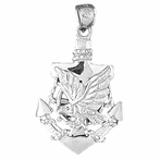 Sterling Silver Anchor And Eagle Pendant (Rhodium, Yellow or Rose Gold-plated)
