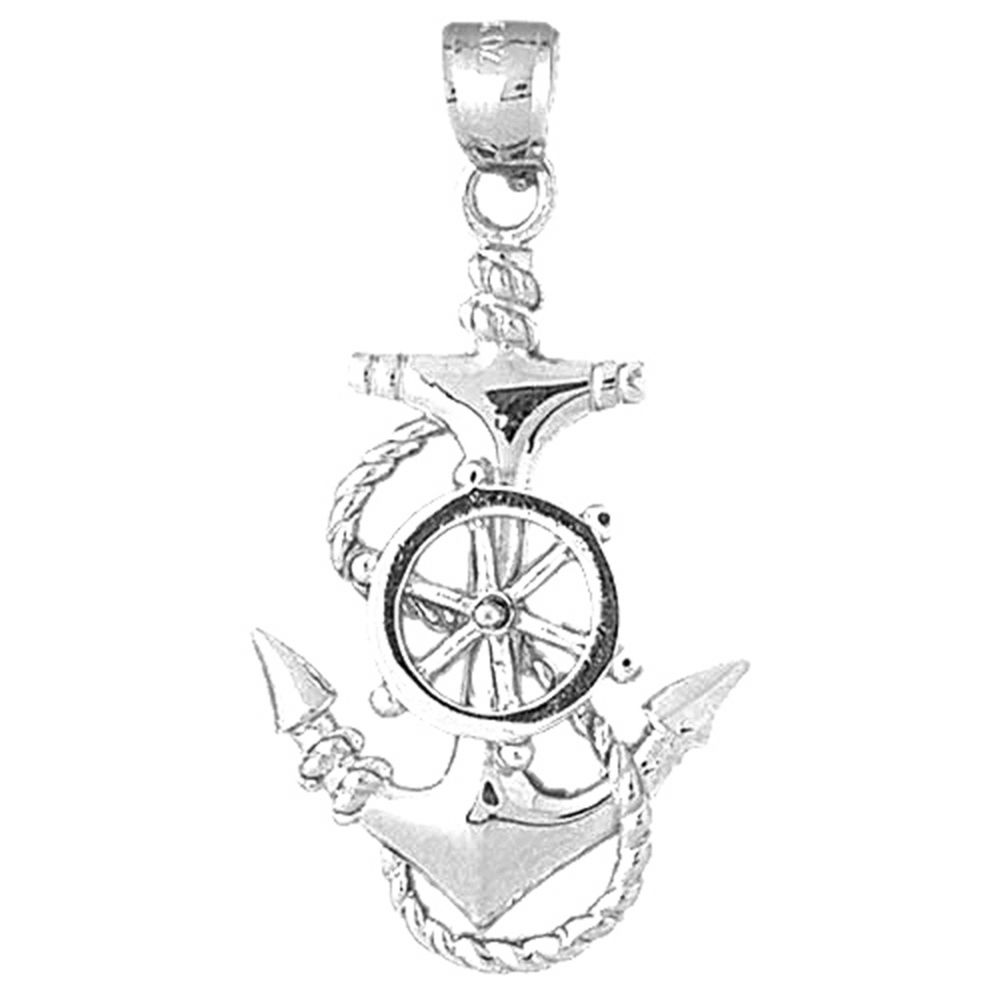 Jewels Obsession Ships Wheel Pendant 24 mm Sterling Silver 925 Ships Wheel Pendant
