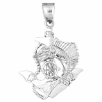Sterling Silver Anchor And Ships Wheel Pendant (Rhodium, Yellow or Rose Gold-plated)
