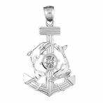 Sterling Silver Anchor, Ships Wheel, And Dolphin Pendant (Rhodium, Yellow or Rose Gold-plated)
