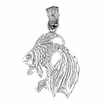 Sterling Silver Angelfish Pendant (Rhodium, Yellow or Rose Gold-plated)