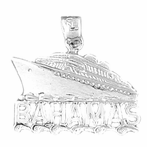 Sterling Silver Bahamas Cruise Ship Pendant (Rhodium, Yellow or Rose Gold-plated)