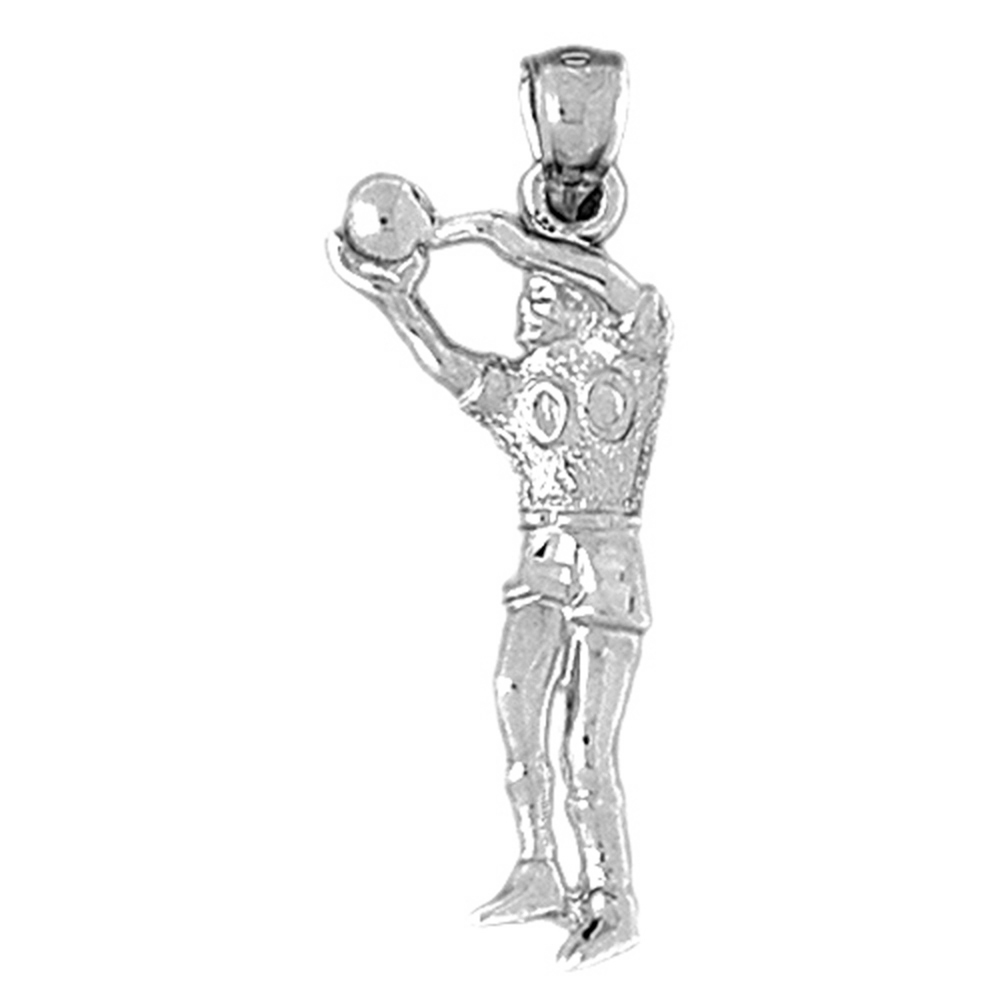 Jewels Obsession Silver Basketball Player Pendant Rose Gold-plated 925 Silver 34mm Basketball Player Pendant