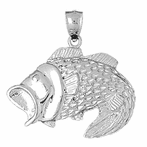 Sterling Silver Bass Pendant (Rhodium, Yellow or Rose Gold-plated)