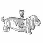 Sterling Silver Basset Hound Dog Pendant (Rhodium, Yellow or Rose Gold-plated)