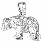 Sterling Silver Bear Pendant (Rhodium, Yellow or Rose Gold-plated)