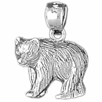 Sterling Silver Bear Pendants (Rhodium, Yellow or Rose Gold-plated)