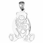 Sterling Silver Bear With Cub Pendant (Rhodium, Yellow or Rose Gold-plated)