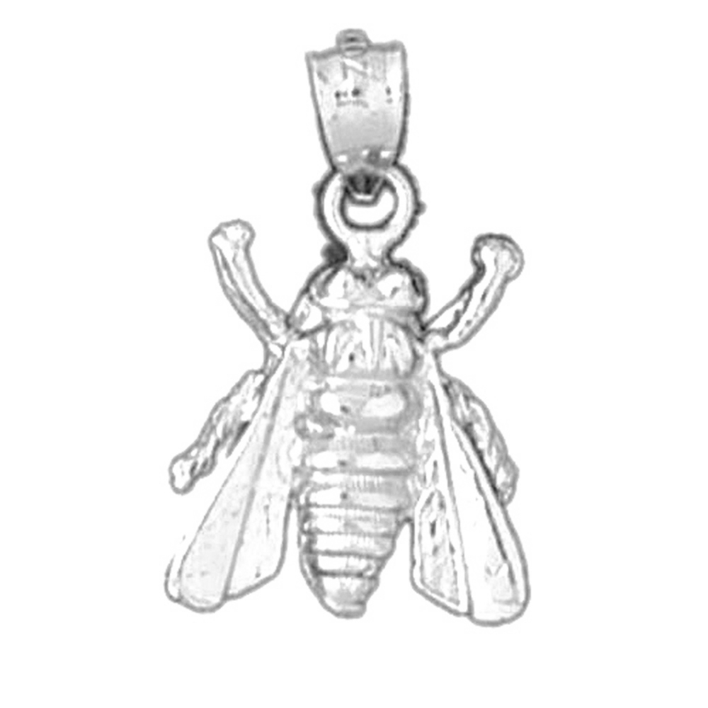 Jewels Obsession 14K White Gold Bee Pendant 14 mm