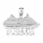 Sterling Silver Bermuda Cruise Ship Pendant (Rhodium, Yellow or Rose Gold-plated)