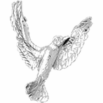Sterling Silver Bird Pendant (Rhodium, Yellow or Rose Gold-plated)