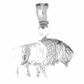 Sterling Silver Bison Pendant (Rhodium, Yellow or Rose Gold-plated)