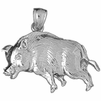 Sterling Silver Boar Pendant (Rhodium, Yellow or Rose Gold-plated)