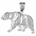 Sterling Silver Brown Bear Pendant (Rhodium, Yellow or Rose Gold-plated)