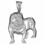 Sterling Silver Bulldog Pendant (Rhodium, Yellow or Rose Gold-plated)