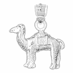 Sterling Silver Camel Pendant (Rhodium, Yellow or Rose Gold-plated)