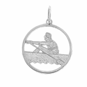 Sterling Silver Canoe Pendant (Rhodium, Yellow or Rose Gold-plated)