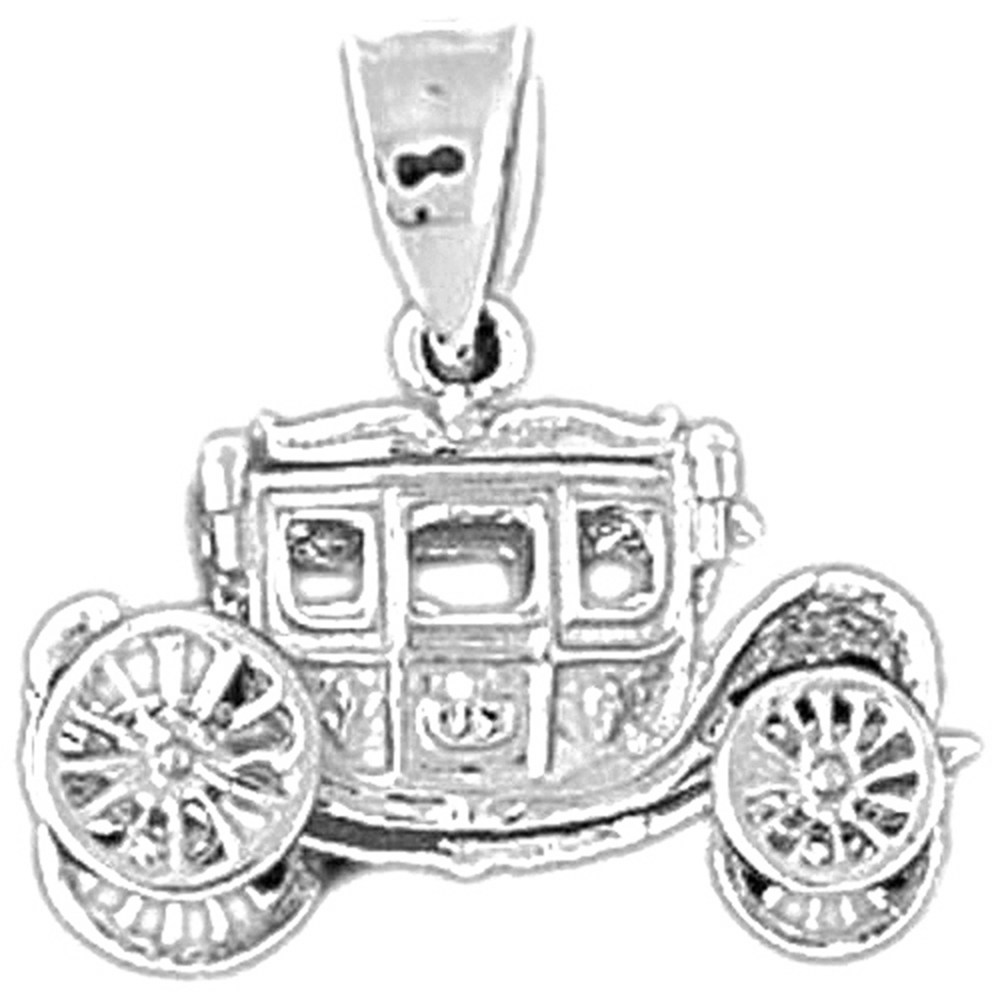 Jewels Obsession Silver Car Pendant 14K Yellow Gold-plated 925 Silver Car Pendant