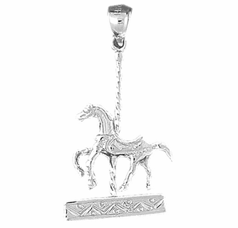 Jewels Obsession Carousel Horse Necklace 14K Rose Gold-plated 925 Silver Carousel Horse Pendant with 18 Necklace