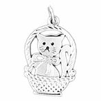 Sterling Silver Cat In Basket Pendant (Rhodium, Yellow or Rose Gold-plated)