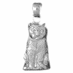 Sterling Silver Cat Pendant (Rhodium, Yellow or Rose Gold-plated)