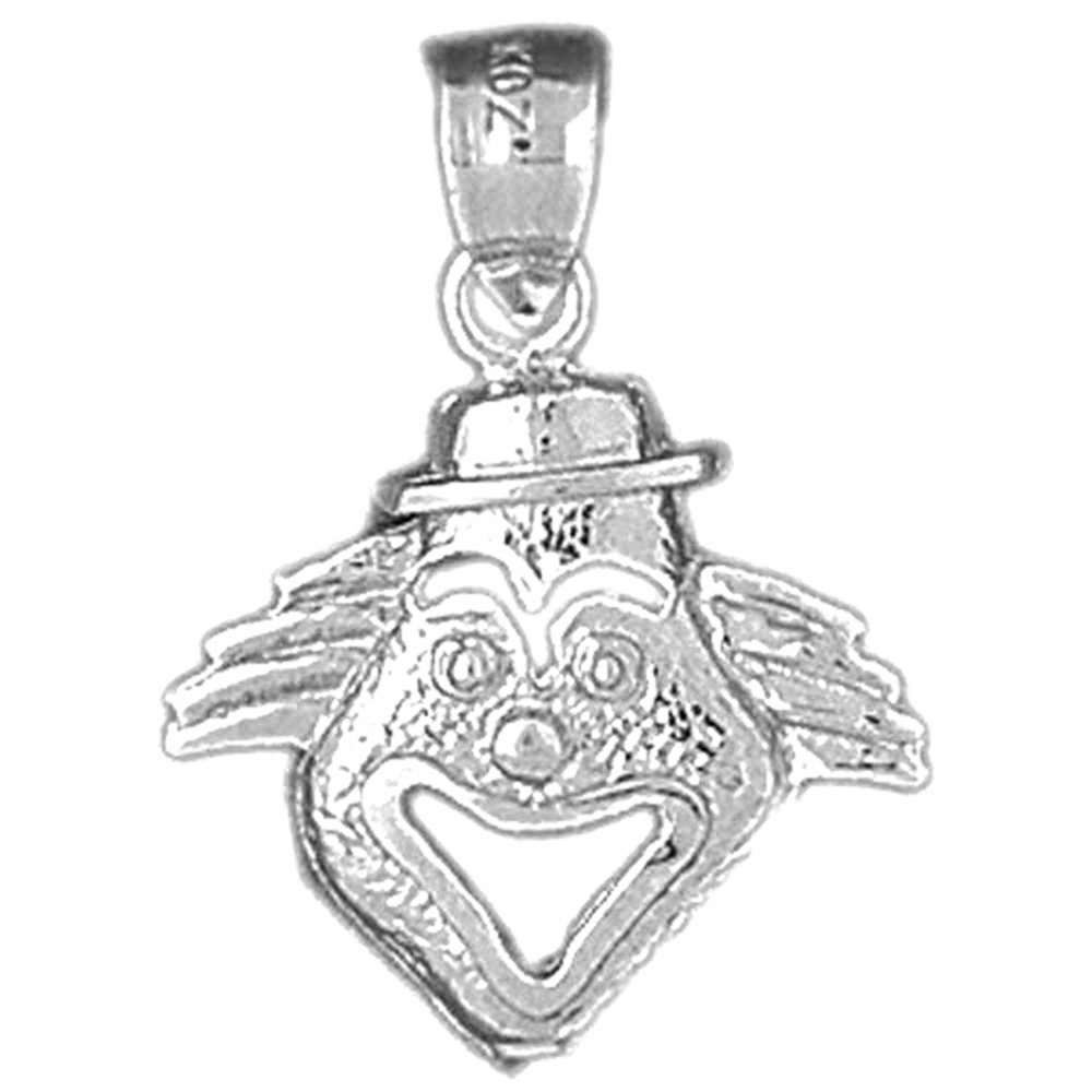 Jewels Obsession Silver Clown Pendant 14K Yellow Gold-plated 925 Silver Clown Pendant