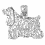 Sterling Silver Cockerspaniel Dog Pendant (Rhodium, Yellow or Rose Gold-plated)