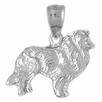 Sterling Silver Collie Dog Pendant (Rhodium, Yellow or Rose Gold-plated)