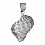 Sterling Silver Conch Shell Pendant (Rhodium, Yellow or Rose Gold-plated)