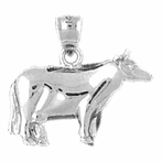 Sterling Silver Cow Pendant (Rhodium, Yellow or Rose Gold-plated)