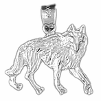 Sterling Silver Coyote Pendant (Rhodium, Yellow or Rose Gold-plated)