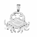 Sterling Silver Crab Pendant (Rhodium, Yellow or Rose Gold-plated)