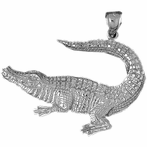 Sterling Silver Crocodile Pendant (Rhodium, Yellow or Rose Gold-plated)