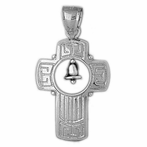 Sterling Silver Cross With Bell Pendant (Rhodium, Yellow or Rose Gold-plated)
